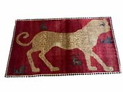 3.5 X 6 Handmade New Vintage Quality Wool Rug Leopard Red Tribal Hand-knotted