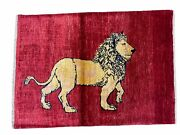 3 X 5 Handmade Hand-knotted Quality Wool Rug New Vintage Lion Red Pictorial