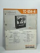 Original Sony Tc-654-4 Reel To Reel Service Manual With Schematic