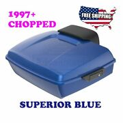 Us Stock Superior Blue Chopped Tour Pack Black Hinges Fit 97-20 Harley Touring