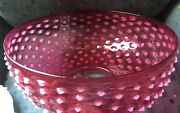 14 Inch Victorian Cranberry Opalescent Hobnail Hanging Oil Parlor Lamp Shade