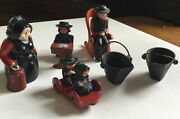 10 Pc. Amish Figures Cast Iron 5 People, Sled, School And Rocking Chair, Buckets