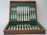 Antique Sterling Silver And Mother Of Pearl Fish Cutlery Set-1902 By Allen And Darwi