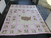 Vintage 50 State Quilt Hand Embroidered W/ State Flowers 76x92