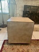 Sarreid Leather And Brass Trim Cube Side Table