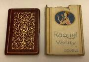 1920and039s Raquel Vanity Double Powder Rouge Compact Red And Gold Book Shaped Design