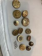 13 Vintage-antique Brass Navy Style Anchor Buttons Variety Eagles Old Buttons