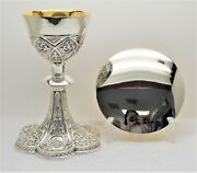 + Ornate Gothic Chalice With Disk Paten + Panels Of Holy Family + St. Louis