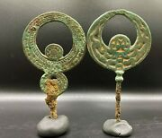 2 Bronze Jewelry Ornaments Hair Pins Antique Ancient Scythian Nomadic Antiquity