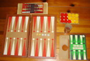 Tim Holland Backgammon Game 30 Marbled Red Yellow Bakelite Chips Box Crisloid