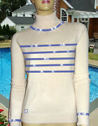 Luxe Oh` Dor 100 Cashmere Sweater Hamptons Lifestyle White Navy 50/52 Xl/xxl