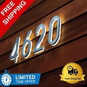 Metal 3d Led House Numbers Light Outdoor Waterproof Hotel Home Stainless Steel