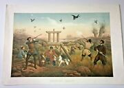 Duck Hunting 1840 Francois Grenier Very Large Antique Lithographic View