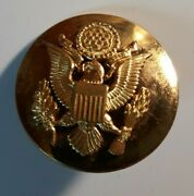 Vintage Us Army Military Officer Brass Pin Krew G-i Screw Back Hat Badge Used