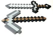 24 Minecraft Foam Sword And 18 Pickaxe Set Grey / Brown Costume Props Lot