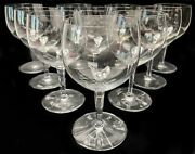 10 Baccarat France Wine Glasses Goblets In Rabelais With Hexagonal Stem