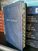 Blue Faux Leather Large Print Thinline Kjv Bible With Thumb Index King James V.