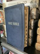 Kjv Giant/large Print Bible Navy Faux Leather Thumb-index  14-point Type