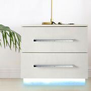 White 2-drawer Bedside Table Nightstands With Led Light End Table Desk Modern
