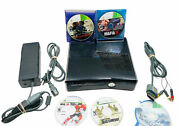 Xbox 360 Slim Bundle- 5 Games And Cables Tested No Hdd