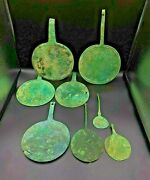 Lot Jewelry 8 Bronze Mirror Old Antique Ancient Indo Scythian Whole Sale