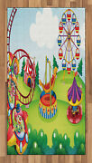 Colorful Circus Area Rug Decorative Flat Woven Accent Rug Home Decor 2 Sizes