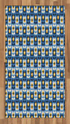 Blue And Yellow Area Rug Flat Woven Accent Rug Home Decoration 2 Sizes