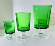 Vintage Rare 70s Mid Century Modern Mcm Lot Of 18 Footed Green Drinking Glasses