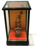 Japan Import New Vintage Miniature Japanese Cart With Clay Dolls In Show Case