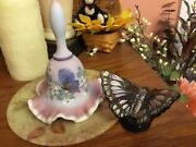 Fenton Art Glass Bell, And Butterfly, Beautiful Together
