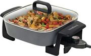 West Bend 72216 Square Electric Skillet With Non Stick Aluminum Body And Tempere