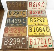 1941-1979 Ohio Bc Car Truck License Plates - Lot Of 12 Plates 2 Pairs T147f