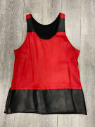 Red Leather Moto Tank Yeezy Hip Hop Size Large