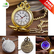 Quartz Pocket Watch With Led Light Necklace Chain Pendant Vintage Watches Gift