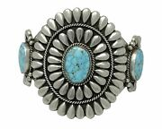 Native American Jewelry Turquoise Cuff Bracelet Signed Navajo Sterling Silver