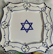 Hand Painted Jewish Star Of David Porcelain Plate Square 12