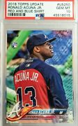 2018 Topps Update Us250 Ronald Acuna Jr Rc Rookie Red Blue Shirt Psa 10 Sp