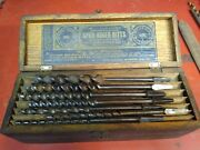 Vintage Russell Jennings 14 Auger Bitts Set In Oak Wood 3 Tiered Storage Box
