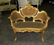 French Gilt Cane Caned Rococo Petite Canapé Chair Settee
