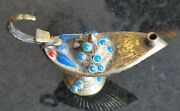 Middle Eastern Beaded And Etched Brass Aladdin Lamp Incense Burner 5longx2wide