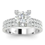 1.35ct D-si1 Diamond Pave Engagement Ring 14k White Gold Any Size