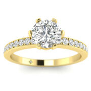 1.18ct D-si1 Diamond Pave Engagement Ring 18k Yellow Gold Any Size