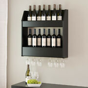 2-tier Floating Wine And Liquor Rack, Black Ready To Mount, Load And Then Unload