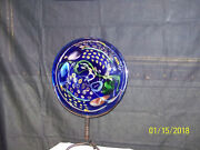 Mid-century Italian Art Glass Hand Blown Abstract Large Charger W/stand
