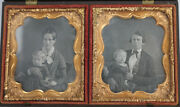 Rare Double Daguerreotype Of Mother  Father W/ Child - In Gutta Percha Case