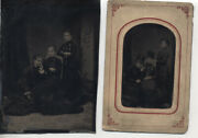 Set Of Two Large Tintypes Of Two Different Sets Of Sisters In Similar Poses