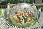 Vintage 9.12 Lb. Murano Label Colorful Fish And Sculptured Opalescent Waves Glass