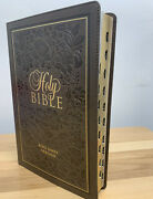 Kjv Bible Thinline Large Print With Thumb Index Faux Leather Taupe Brown Scroll