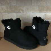 Ugg Mini Bailey Button Bling Crystal Black Suede Boots Size 7 Womens
