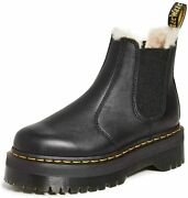 Dr. Martens 2976 Quad Fl Womenand039s Leather Faux Fur Lined Chelsea Boots 25635001